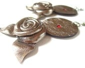 Roses with Love - Leather Earrings with Leather Roses - Metallic brown leather
