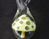 Green spotted mushroom pendant