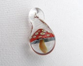 Glass Mushroom Pendant Red Spotted with Gills