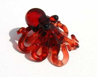 Small Glass Octopus pendant Ruby