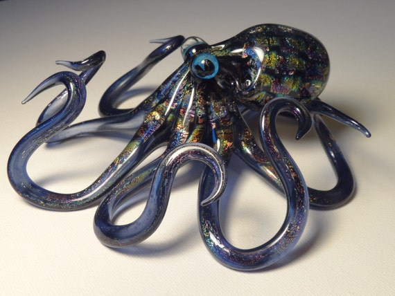 Large SOLID DICHROIC Glass Octopus sculpture FREE SHIPPiNG