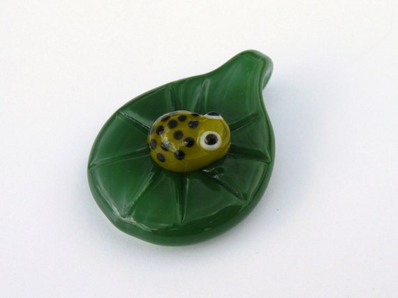Baby Frog On LilyPad Pendant READY TO SHIP