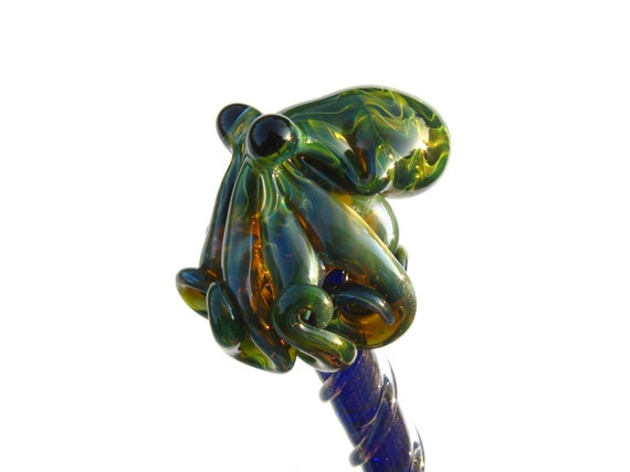 Exotic Green Glass Octopus HairStick