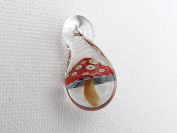 Glass mushroom pendant red spotted with gills aloadofball Choice Image