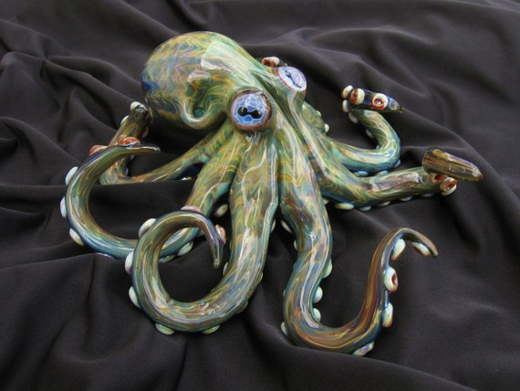 Large Exotic Green Octopus Sculpture FREE SHIPPING
