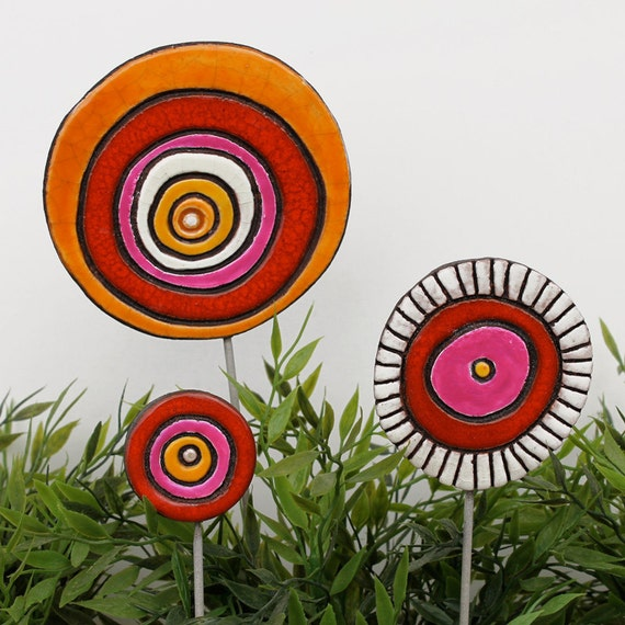 Items similar to abstract funky garden art ceramic for Funky garden accessories