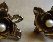Vintage Brass and Pearl  Flower Earrings
