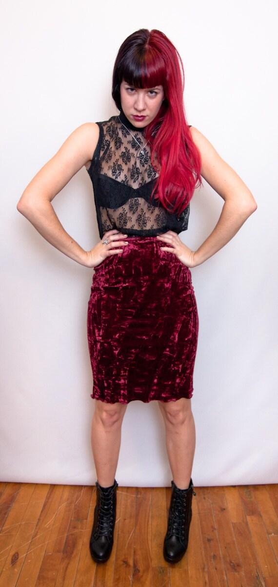 90s RED CRUSHED VELVET skirt S