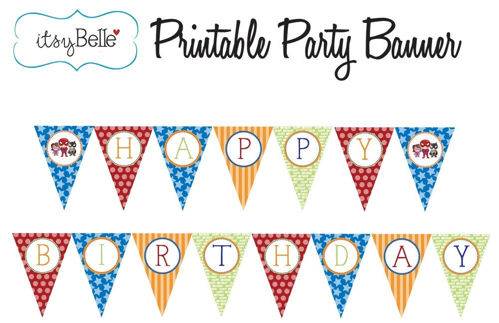 lil u0026 39  super hero collection printable birthday banner by