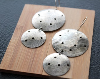 Constellation earrings,  sterling silver dangles, large earrings, silver jewelry, handmade