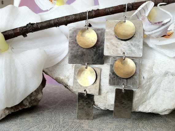 Modern Silver Earrings featuring Squares and Gold Circles, mixed metal earrings, hammered earrings