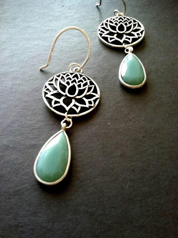 lotus flower earrings with sea foam teardrop