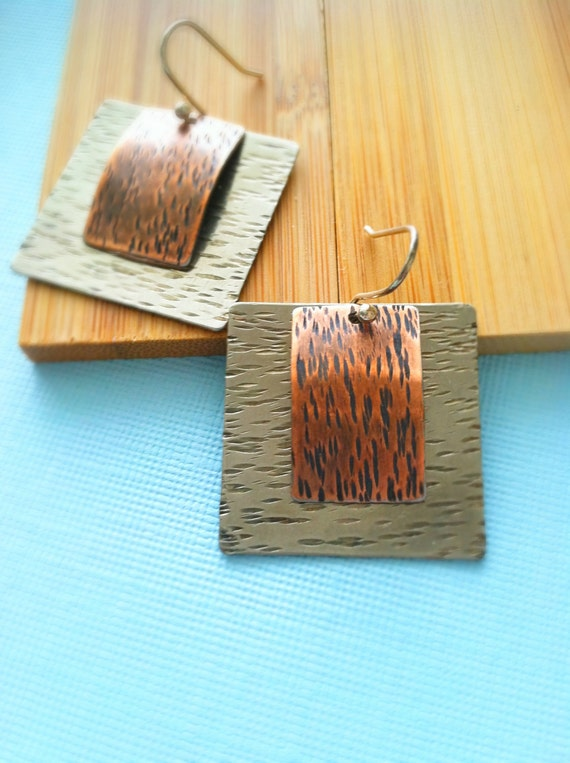 Handcrafted sterling silver and copper earrings, modern hammered earrings, metal earrrings, rustic jewelry