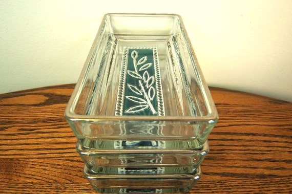 Vintage Mid Century Silver Rimmed Decorative Glass Serving Dishes: Set of Three