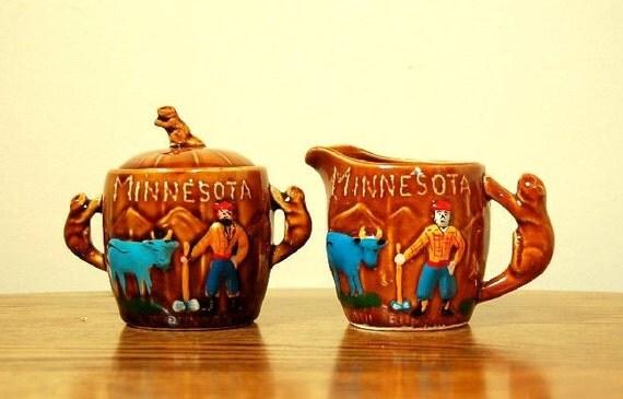 Vinatge Minnesota Paul Bunyan and Babe the Ox Cream and Sugar Set: Made in Japan