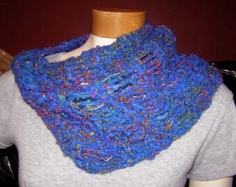 Sparkly Royal Blue Rainbow Knit Cowl / Shoulder Shawl - Handknit Scarf - 12 Inches long