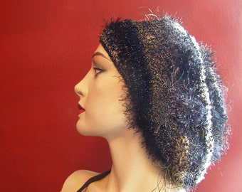 Silver, Gold, and Licorice Beret or Slouch Style Hat - Adult-Sized - Crocheted