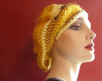 Lemons and Sunflowers Beret or Slouch Style Hat - Teen to Adult-Sized - Crocheted