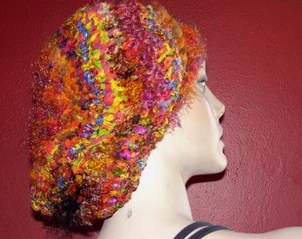 Kumquat and Melon Beret or Slouch Style Hat - Teen to Adult-Sized - Crocheted