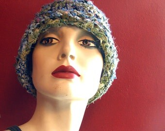 By the Seashore Fabric Hat / Skull Cap - Adult-Sized - Handknit