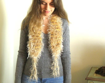Shades of Autumn Scarf, Biege Fur and Tassels - Handknit - 35/48 Inches long