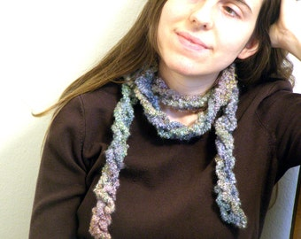 Fluffy Spiraling Rainbow-Boa (RAINBOA) - Crocheted Colorful Scarf - 57 Inches long