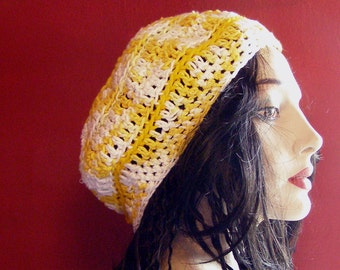 Golden Days of Summer Three-Ring Beret or Slouch Style Hat - Teen to Adult-Sized - Crocheted