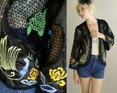 vtg 70s JACKET black PEACOCK Sheer Crochet draped Kimono boho