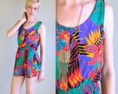 vintage 80s colorful JUNGLE PRINT tropical ROMPER jumpsuit S playsuit gypsy boho