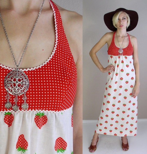 vtg 70s LANZ DRESS Novelty Strawberry Print Open Back halter boho hippie XS