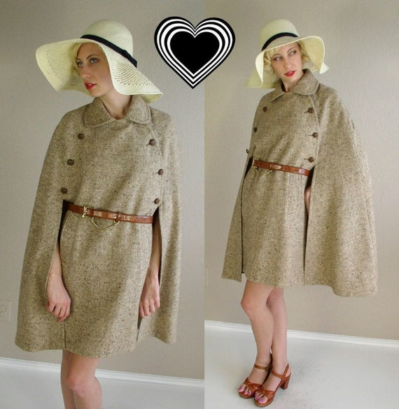 Free Shipping vtg 60s Brown MILITARY Tweed CAPE mod wool coat one size