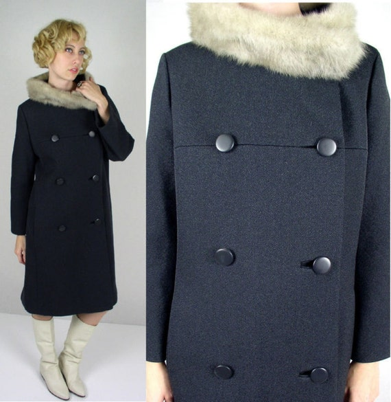 vtg 60s Coat SILVER MINK FUR Gray Wool pea jacket Large mod princess fitted
