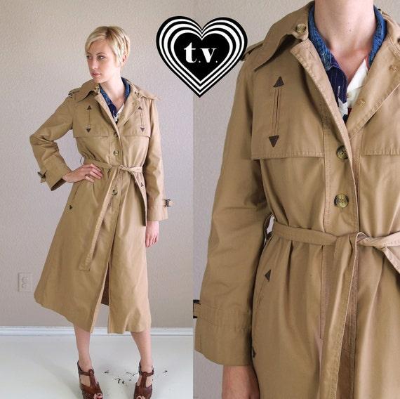 reserved for Tash vtg 70s Trench Coat Tan SKINNY WESTERN military belted jacket M
