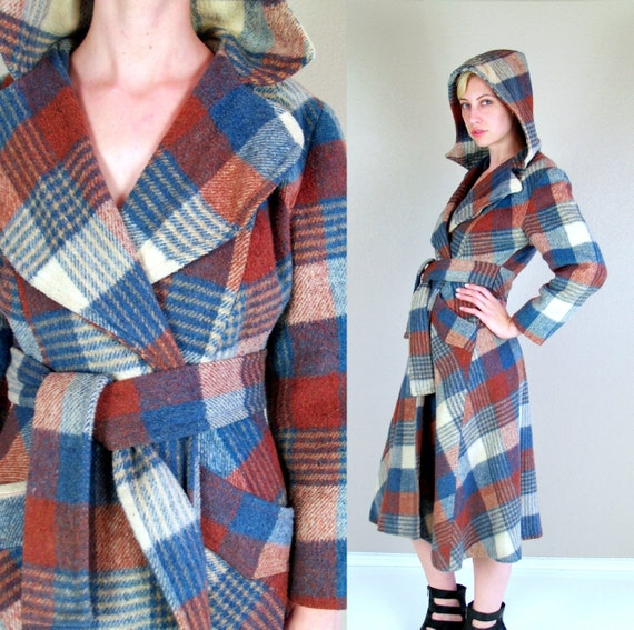 vintage 70s Rust and Blue HOODED belted wrap fitted MAXI COAT hippie Small princess boho