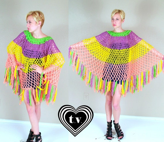 vintage 70s cut out crochet RAINBOW knit FRINGE CAPE os draped sweater sheer colorful