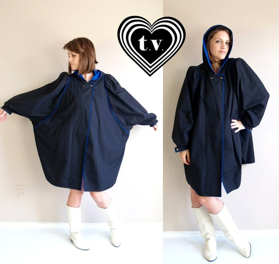 reserved for Jamie vtg 80s UNIQUE black, blue Puff Sleeve HOODED CAPE trench coat jacket draped avant garde