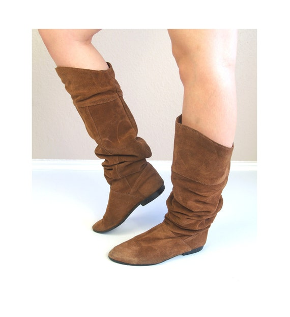 vtg 70s KNEE HIGH brown suede leather Slouch Pirate BOOTS flat hippie 8 festival