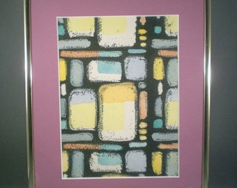 Vintage Mid Century Modern Art Geometric Squares Print In Frame Wall Art Decor Hanging