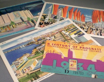 Vintage World's Fair Souvenir Postcards and Admission Ticket Ephemera Travel Landmarks
