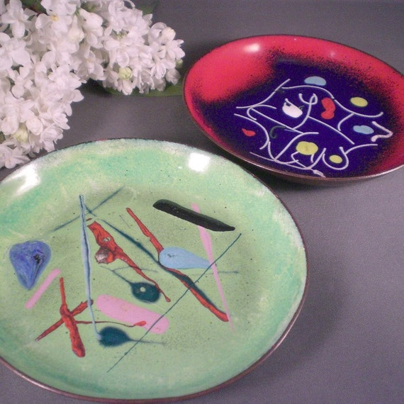 Vintage Copper Enamel Abstract Small Tray or Dish Set of 2