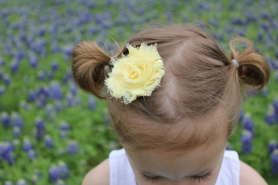 Shabby Chic Clip, Frayed Soft Yellow Hair Clip for Newborn, Baby, Toddler, Little Girl, Teen, Adult