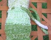 Soap sachet, soap cozy, soap holder, soap sock, soap bag, soap saver, potpourri holder, green, hand knit