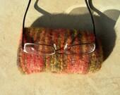 Eyeglass Case orange brown variegated felted hand knit