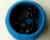 Felted Bowl in royal blue key and cell phone storage