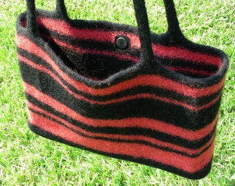 Tote bag, purse hand knit, felted wool, black and coral stripes