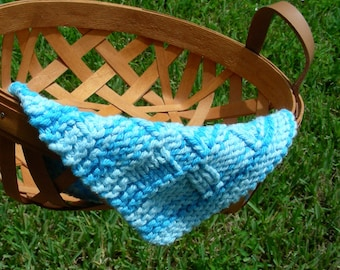 Spa washcloths facecloths blue textured hand knit in a soft spa color 100% cotton