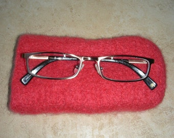 Eyeglass case reading glass case coral felted hand knit