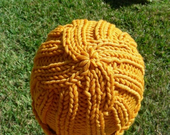Merino Stocking cap, watchcap, longshoremans hat, beanie, skull cap orange yellow mango