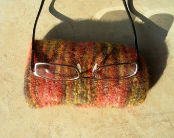 Eyeglass Case orange brown variegated felted hand knit