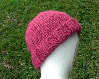 Stocking cap, watchcap, longshoremans hat, beanie, skull cap womens in very berry pink or choice of color